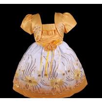 Vestido Infantil Festa Bebê/menina Bordado Girassol Barra