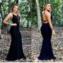 Vestido Feminino Longo Sereia Costa Nua Aberta Decotada