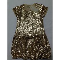 Vestido De Festa Dourado Paetê Menina 06 Anos Novoc/etiqueta