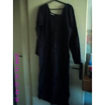 Vestido Azul Marinho De Linho Nº 42