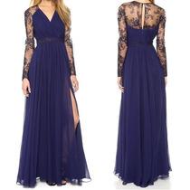 Vestido Longo Rendado Azul Em Chiffon - Manequins 40 A 44