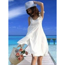 Vestido Branco Malha Verão Praia Casual Pronta Entrega