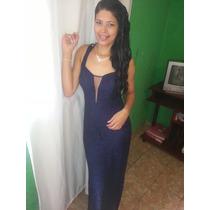 Vestido Longo Azul Marinho De Madrinha Rendado, Ou Festas.