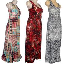Lote 12 Vestidos Longos Plus Size Estampados Busto Reforçado