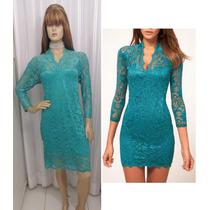 Vestido Importado Em Renda Verde/azulado Com Mangas 3/4