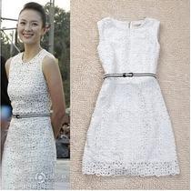 Vestido De Festa Renda Branco Chique Acompanha Cinto
