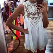 Vestido Branco Reveillon Renda Verão Curto Praia