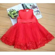 Lindo Vestido Vermelho P/sua Princesa Menina Festa Casamento