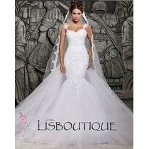 Vestido Noiva Renda Rendado Sereia Tulle Tela Pronta Entreg