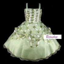 Vestido Infantil Princesa Flores Verde Tiana, Tinker