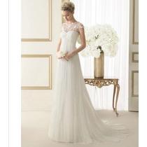 Vestido De Noiva Longo Bordado Tule E Renda Pp Ao G8 Kl37