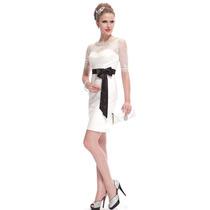 Vestido Branco De Renda Com Faixa Casamento Civil Envio Já!