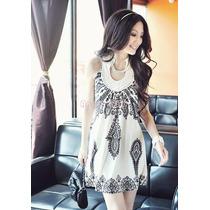 Vestido Curto Branco Preto Estampado Nova Moda Verão Lindo!!