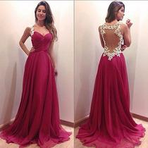 Vestido Longo Rosa Chiffon Formatura Madrinha Casamento