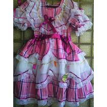 Vestidos Juninos Luxuosos Já Enfeitados 0 A 6 Anos