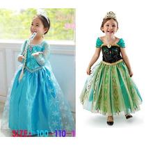 Fantasia Vestido Frozen Ana/elsa Frete Gratis Pronta Entreg