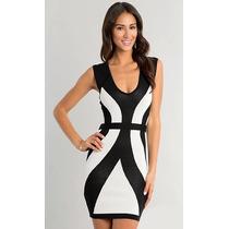 Vestido Curto Preto E Branco Elegante Nova Moda Verão Sexy!!