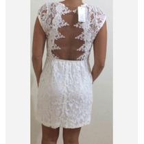 Vestido Branco De Renda Tule Nas Costas Zara Animale Bobô