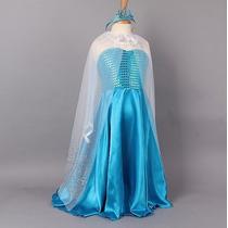Fantasia Vestido Elsa Frozen Com Coroa Pronta Entrega