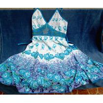 Vestido Semilongo Floreado Em Tons De Azul Com Bordado