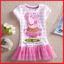 Vestido Peppa Pig Meninas (com Tule/rosa) Pronta Entrega