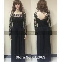 Vestido Longo Importado Manga Longa Preto Renda - Maxi Dress