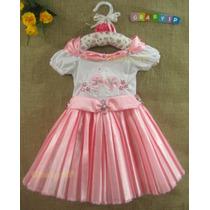Vestido De Festa Infantil Princesa Luxo - Brinde: Tiara