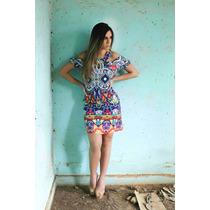 Vestido Estampado De Linho #2622