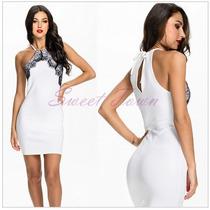 Vestido Curto Branco Com Detalhe Renda Preta Nova Moda Verão