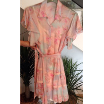 Vestido Romântico Em Seda Rosa Estampada Bebesh - Tam M