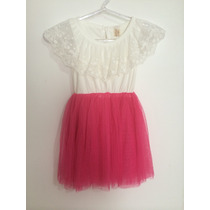 Vestido Infanti Menina Branco Renda Saia Tule Bailarina Rosa