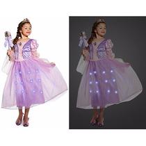 Fantasia Rapunzel Light Up Acende Disney Lançamento 4 Anos