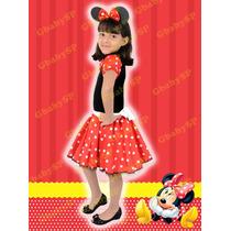 Fantasia Infantil Minnie Vermelha Ou Rosa Tam 01 Ao 12 Minie