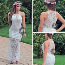 Vestido Longo De Festa Em Renda Madrinha Casamento Formatura