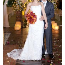 Vestido De Noiva Branco Com Renda Francesa.