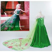 Vestido Elsa Princesa Frozen Fever Anna Disney Longo Luxo
