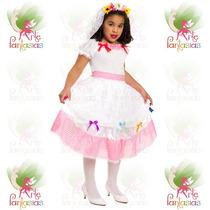 Vestido Noiva Caipira Infantil ° Festa Junina ° Branco Rosa