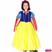 Fantasia Vestido Infantil Branca De Neve Luxo Com Capa Tiara