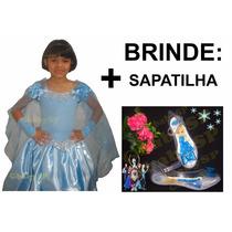 Fantasia Vestido Frozen Elsa Modelo Luxo + Brinde: Sapatilha