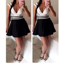 Vestido Boneca Preto E Branco- Vestido Rodado Peplum