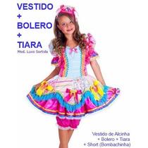 Vestido Festa Junina + Tiara Luxo - Caipira Junino Infantil