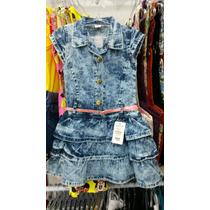 Vestido Jeans Infantil Menina Azul Tamanho 4