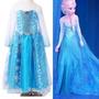 Vestido Fantasia Frozen Elsa+tiara Pronta Entrega Promoção