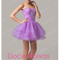 Vestido De Debutante Curto Lilás Novo Pronta Entrega