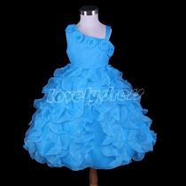 Vestido Festa Infantil Crianca. Azul. Princesa. Aniversario.