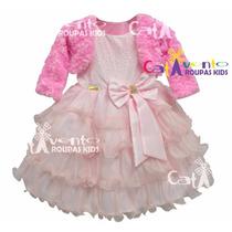 Vestido De Festa Infantil Com Bolero E Tiara De Brinde