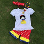 Conj Camiseta Shorts Branca De Neve + Colar E Faixa Infantil