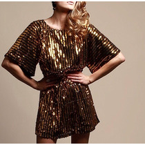 Vestido Dourado Paetê Brilho Réveillon Virada