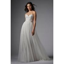 Luxo: Vestido Noiva Tomara Que Caia Em Tule E Renda Bordada