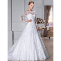 Vestido Noiva Importado Sob Encomenda - Manga Longa Apliques